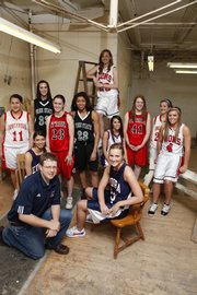 The 2008-09 All-area girls basketball team, pictured above, from left to right, includes: back row — Roni Grizzle, Tonganoxie High, Ashli Hill, Free State High, Jordan Baldwin, Ottawa High, Chantay Caron, Free State High, Haley Parker, Lawrence High, Nicole Rockhold, Oskaloosa High, Kara McFarland, Ottawa High, Chrissie Jeannin, Tonganoxie High, and Taylor Bird, Lawrence High; front row — head coach Ryan Luke, Eudora High, Bailey Scott, Eudora High and Haley Epperson, Eudora High.
