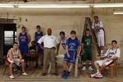 "The 2008-09 All-Area Boys basketball team, pictured above from left to right, includes: Keaton Schaffer, Tonganoxie High, Chase Tenpenny, Oskaloosa High, Jamel Townsend, De Soto High, Andy Bowman, Perry-Lecompton High, head coach Mike ""Scoop"" Harding, Seabury Academy, Justin Ballock, Eudora High, Shane Gimzo, Perry-Lecompton High, Nick Hassig, Free State High, Dorian Green, Lawrence High and Lance Kilburn, Lawrence High. Not pictured: Austin Smith, Tonganoxie High and Adam Hasty, Ottawa High."