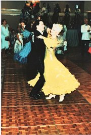 Shirley and Blue Barrand dance in a competition in the late 1980s. The Barrands competed for years and now teach classes through Lawrence Parks & Recreation. Visit www.lprd.org or call 832-7930.
