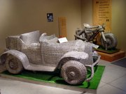 This car and motorcycle, created by Topekan Herman Divers and made of pull-tabs, is currently on display in the Grassroots Art Center, Lucas. The Grassroots Art Center exhibits the work of self-taught, outsider artists.
