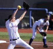 Kansas pitcher Sarah Vertelka delivers to the plate during the second inning against Nebraska.