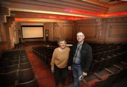 BarBara Wright, left, and Lyle Wellbrook, both members of the committee working on the Anthony Theatre restoration project, are seen in this photo taken March 25 in Anthony. The theater opened its doors on Nov. 23, 1936, with seating for 587.
