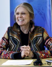 "Gloria Steinem, shown in this 2008 photo, says of Hillary Clinton, ""People can now imagine a female head of state where they may not have been able to imagine that before."""