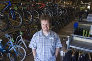 Dan Hughes, owner of Sunflower Outdoor & Bike, uses the Internet to connect to customers.