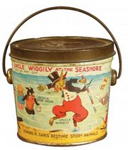 Uncle Wiggily is still a popular character from a children's book series started in 1910. This 1923 peanut butter pail shows Uncle Wiggily Longears at the seashore with his candy-striped cane and Pipsisewah, a rhinoceros-like bully. It auctioned for $590 at Showtime Auction Services of Woodhaven, Mich.