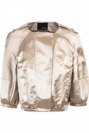 Miu Miu cropped satin jacket, offered on theoutnet.com.