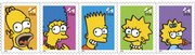 This undated file photo provided by the U.S. Postal Service shows the five 44-cent postage stamps featuring The Simpsons portraying from left, Homer, Marge, Bart, Lisa and Maggie. The price of a first-class stamp will climb to 44 cents on Monday, though folks who planned ahead and stocked up on Forever stamps will still be paying the lower rate.