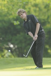 Free State golfer Seth McCauley chips onto the green on Wednesday at Alvamar Golf Course.