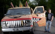 Nelick remodeled the old family van that had been sitting idle in his driveway for years. The horns of the Dragon Wagon are actually Vietnam-era rocket fairings that Nelick bought off eBay.