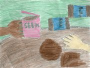 "Ten-year-old Alexis Derritt's illustration about people uniting to plant seeds won first place in an illustration contest sponsored by Lawrence's Nature Education for Kids task force. Its motto is ""Outside for a Better Inside."" Derritt is fifth-grader at Deerfield School. The illustration contest was open to students in kindergarten through fifth grades."