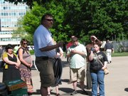 Curt Brungardt, the stepfather of Jana Mackey, who was murdered in 2008 by her ex-boyfriend, speaks Tuesday to a group outside the Capitol in Topeka, urging Gov. Mark Parkinson to veto a provision that would divert approximately $300,000 in federal funds away from Planned Parenthood. The provision was put into the budget by lawmakers who oppose abortion.