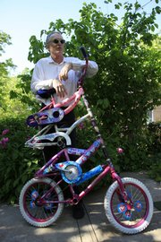 Eric Farnsworth creates unusual modes of transportation with old  bicycles and other materials. Farnsworth calls the four-bicycle addition at left the Princess Bike.