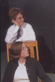 "Darci ""Jinx"" Rodecap, seated, acts a scene in ""Property Rites."" Standing is Free State High School actor Nate Rosenbloom."