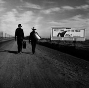 "Farm Security Administration photographer Dorothea Lange captured this juxtaposition of subjects in this 1937 image titled ""Toward Los Angeles CA.""."