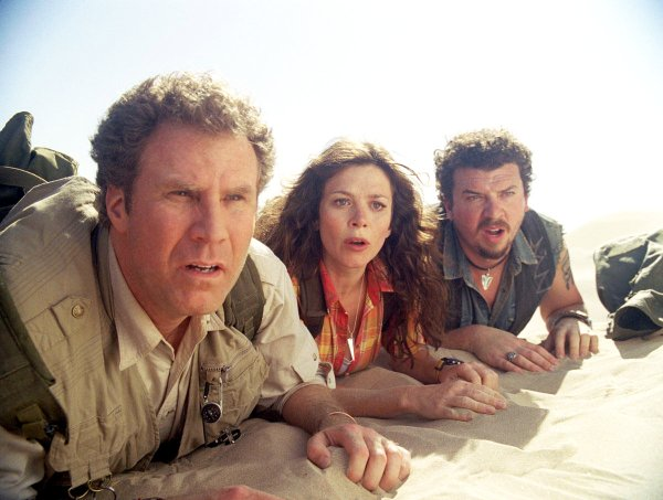 "Will Ferrell, left, Anna Friel and Danny McBride avoid strange creatures in the adventure-comedy ""Land of the Lost."""