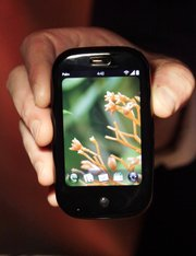 The Palm Pre smartphone is shown at the International Consumer Electronics Show in Las Vegas in this Jan. 9 file photo.  Sprint Nextel Corp. plans to start selling the much anticipated Pre today for $200. The device could give Palm a much-needed boost in sales and help Sprint stop the defection of subscribers to other wireless carriers.