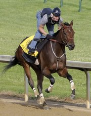 Jockey Calvin Borel gallops Kentucky Derby winner Mine That Bird following the horse's workout at Churchill Downs on Monday in Louisville, Ky. If Borel wins today's Belmont Stakes, he'd become the first jockey to win the Triple Crown on different horses.