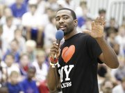 Ex-Jayhawk Keith Langford addresses Bill Self basketball campers in this file photo from 2009.
