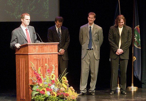 Brad Frederick, left, speaks about his father during a memorial for Bob Frederick, former KU athletic director, Wednesday, June 17, 2009 at the Lied Center. Brad's brothers, all of whom spoke about their father, are from left Brian, Mark and Chris.