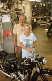 Jim and Joan Vandergriff, of Leavenworth County, display a 1942 3HW Triumph, just one motorcycle in their extensive collection.