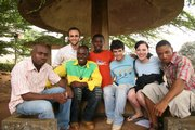 Geoff Shepard (third from right) and fellow missionaries Michael (second from left) and Melissa (second from right) meet with students on a university campus in June 2008 in Cameroon.