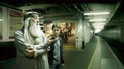 "A scene from ""Harry Potter and the Half-Blood Prince"" features Michael Gambon as Dumbledore and Daniel Radcliffe as Harry Potter."