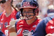 The United States' Ashley Hansen smiles after hitting a grand slam against Australia in the third inning of their World Cup game. The U.S. won, 8-0 in five innings, Sunday in Oklahoma City.