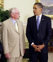 President Barack Obama greets Apollo 11 astronaut Neil Armstrong on Monday in the Oval Office of the White House in Washington on the 40th anniversary of the Apollo 11 lunar landing.