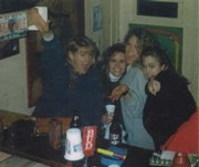 "The Sandbar&squot;s then sole owner Rita ""Peach"" Madl (left) circa 1993 with Rachel Berman, Casey, and Sara."
