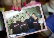 "From left, Cary, Anderson and Embrey all got ""chemo cuts,"" in May 2008 in support of Amy, second from right."