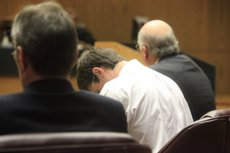 Matthew Jaeger drops his head as the guilty verdict was read on Thursday. The former Kansas University student was found guilty on three charges in connection with a brutal assault of his former girlfriend. Jaeger was found guilty of kidnapping, aggravated battery and making a criminal threat. Jurors could not reach a verdict on a charge of aggravated burglary, and they found him guilty of simple kidnapping, rather than aggravated kidnapping.
