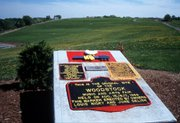 A monument marks the site where the original Woodstock Music and Arts Fair was held  in August of 1969 in Bethel, New York.