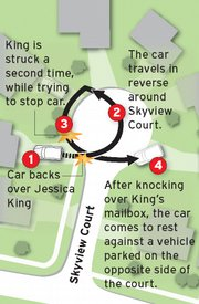 A map of Skyridge Court, where Jessica King was involved in a bizarre car accident in January.