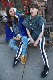 Ari Fish and friend J. Ashley Miller (left) wearing some of Fish's designs from earlier this year.