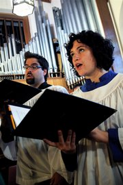 Anna Hoard, Topeka, and Chad Payton, Lake of the Ozarks, Mo., sing at Trinity Episcopal Church. Both singers are studying opera performance at Kansas University.