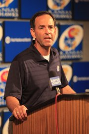 Kansas volleyball coach Ray Bechard speaks at Media Day Wednesday. The Jayhawks return all but one starter from last season.