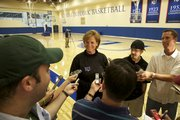 KU women's basketball coach Bonnie Henrickson took time to speak with the media at the new Kansas Basketball Practice Facility on Wednesday.