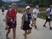 Lawrence residents Debbie Webster, left, and Coleen Voeks hit the halfway point of the Leadville Trail 100 ultra-marathon.