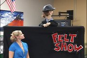 "Emily Herrman and ""Hank"" work to perfect the dialogue of the opening scene of Feltapalooza."