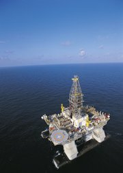The ultra-deepwater semi-submersible rig Deepwater Horizon, which drilled the Tiber well, is shown in this undated photo released by Transocean operating in the U.S. Gulf of Mexico. The Tiber well was drilled to a total depth of 35,055 feet, making it one of the deepest wells ever drilled by the oil and gas industry, BP said.