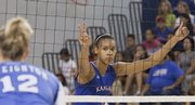 Former Lawrence High school player Tayler Tolefree makes her KU volleyball debut against Creighton Saturday, September 5, 2009.