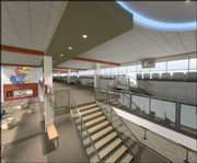 A look at one of the upper lobbies of the new Gridiron Club KU is building at Memorial Stadium.