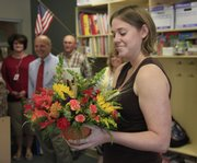 Sunflower School teacher Valisha Nelson received the Lawrence school district's Horizon Award on Thursday. The award honors outstanding novice teachers.