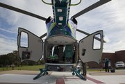 A state-of-the-art EV145 helicopter, to be used by Children's Mercy Hospital and Clinics, makes a stop Friday at Lawrence Memorial Hospital as part of a tour of medical centers within a 150-mile helicopter transport region.