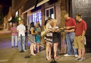 A line forms at The Barrel House, 729 N.H., for a recent Ladies' Night.