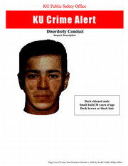 A composite of the suspect in the Thursday morning incident near KU's Memorial Stadium.