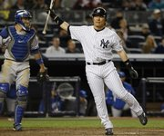 The Yankees' Hideki Matsui strikes out swinging in the bottom of the ninth inning. Matsui went 0-for-4 with three strikeouts in the Yankees' 4-3 loss to the Royals on Wednesday in New York.