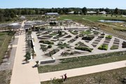 An aerial view of the Heartland Harvest Garden at Powell Gardens in Kingsville, Mo., from a viewing silo than will soon be open to the public.