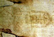 The shroud is shown in August 2000 at the Cathedral of Turin, Italy.
