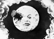 "This still image from the 1902 silent film ""Le Voyage Dans La Lune,"" written and directed by Georges Méliès, shows ""the man in the moon"" with a bullet-shaped space capsule lodged in his eye. Today, NASA will deliberately crash two unmanned spacecraft into the moon in an attempt to find ice."